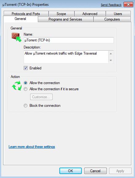 Permit uTorrent via firewall