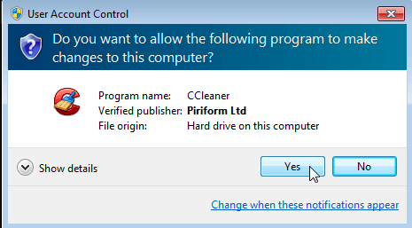 User Account Control, click Yes