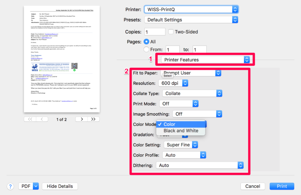 Customize the settings of printer