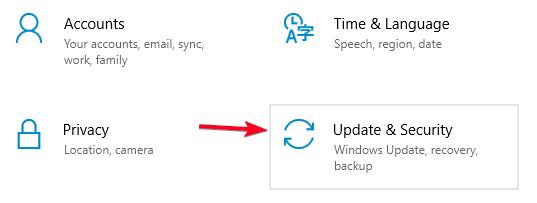 update and security menu