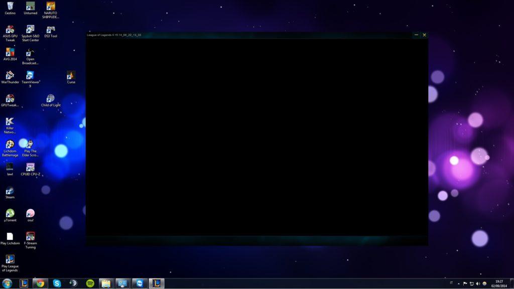 league client black screen