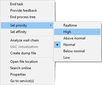 Change priority settings