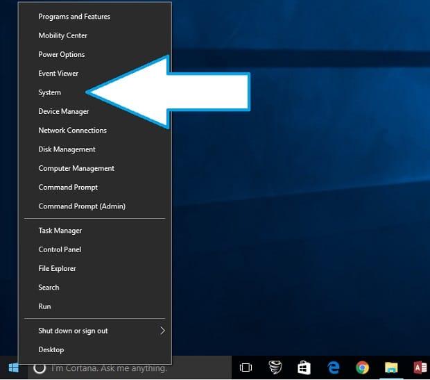 system menu windows 10