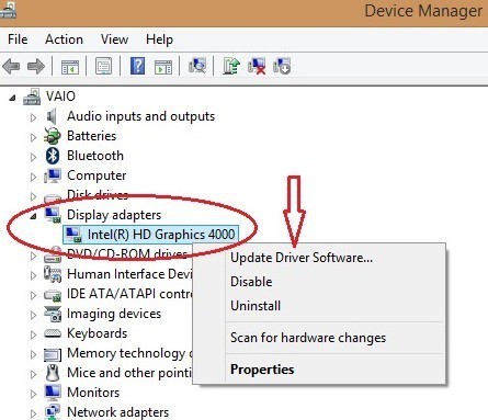 update the graphics card driver