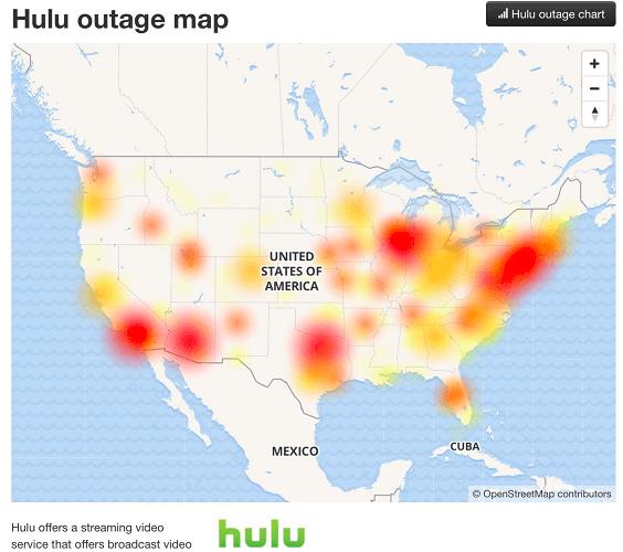 Hulu server status page