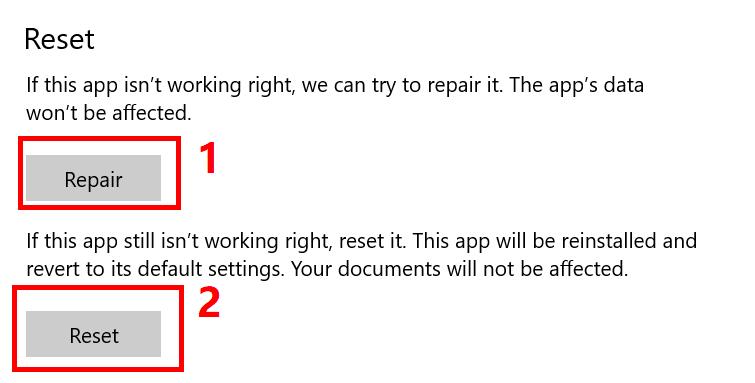 Reset or repair your Windows 10 Hulu app