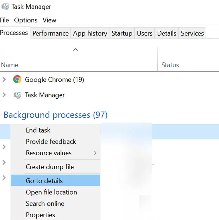 right-click the process