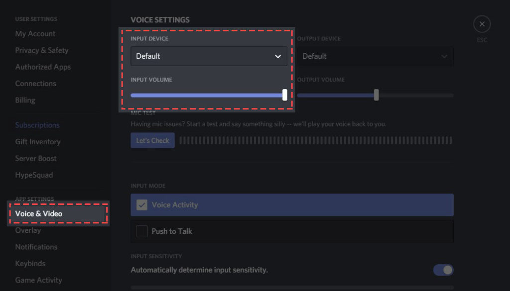 Input Device to select the microphone