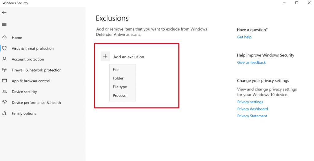 Windows Defender Exclusion List