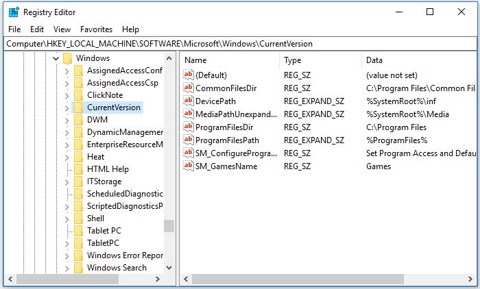 The HKEY LOCAL MACHINESOFTWAREMicrosoftWindows registry entry