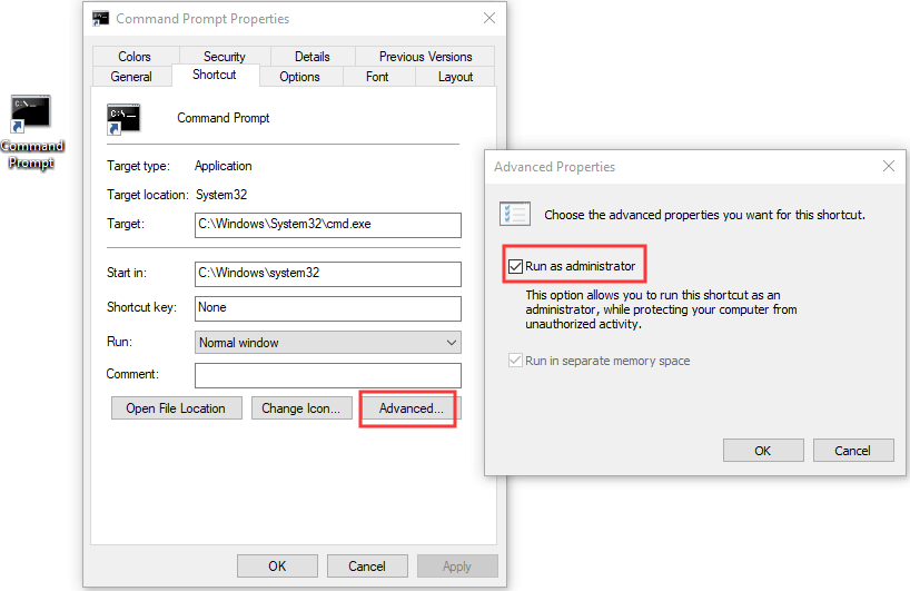 command prompt windows 10 key